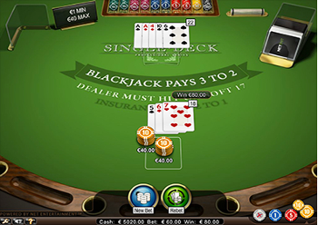 jeux de Single Deck Blackjack gratuits