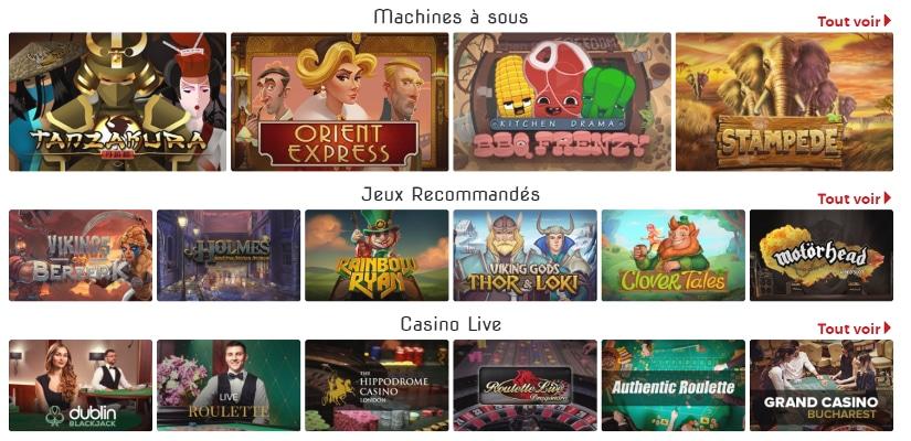 les jeux et machines à sous du site lucky31