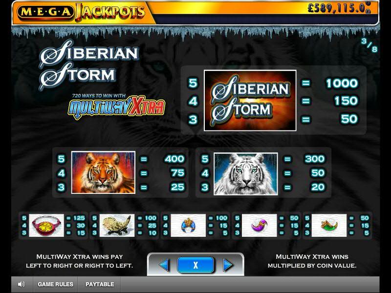 table des paiements du jeu de machine à sous siberian storm